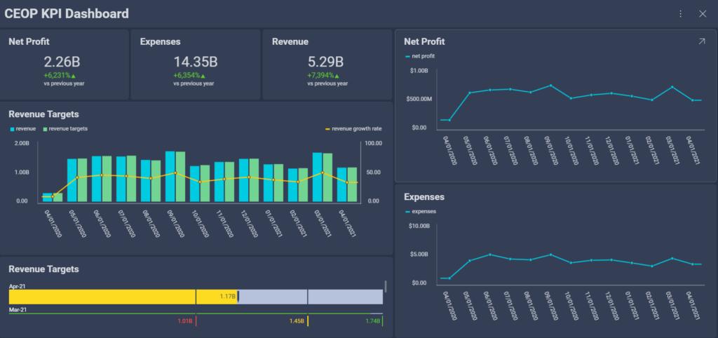 CEO dashboard with KPI metrics