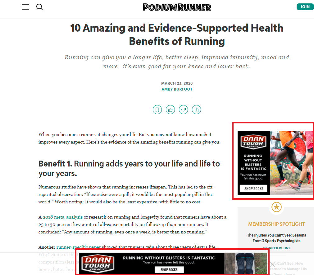 an example of display ads on a website