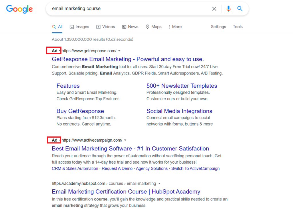 an example of search ads in the serp