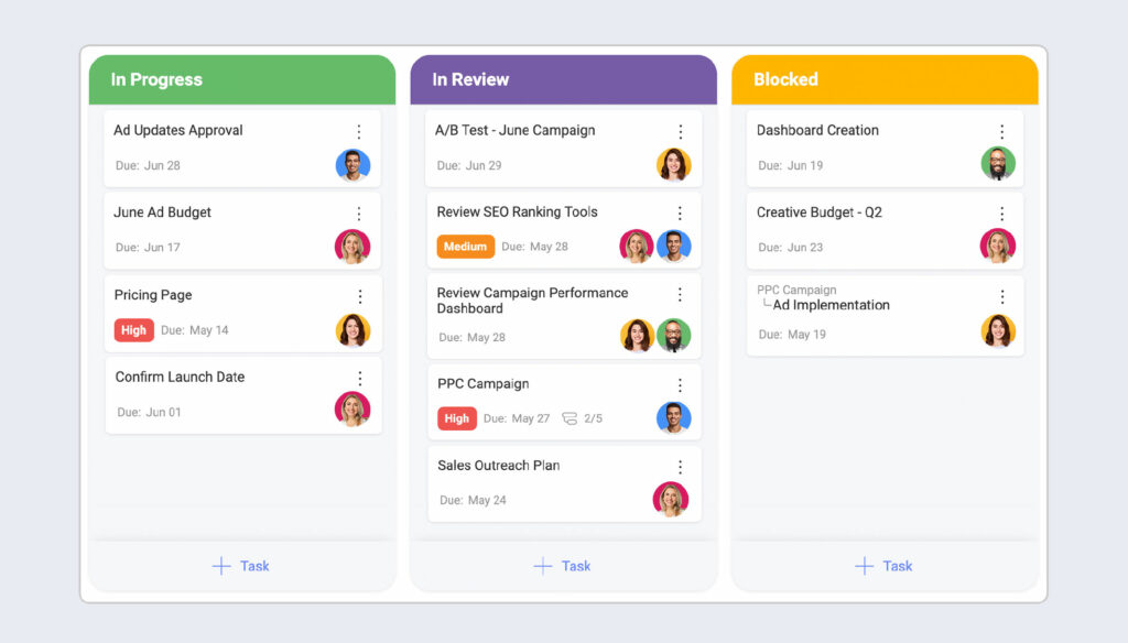 task management feature in project management software