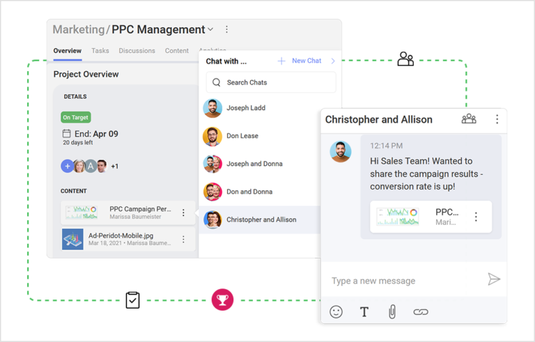 Task tracking & priority options in a chat app